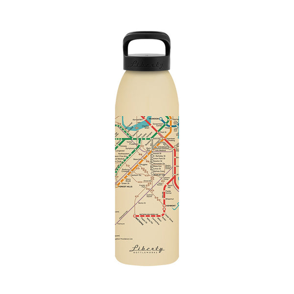 Boston Transit Recycled Aluminum Reusable Water Bottle