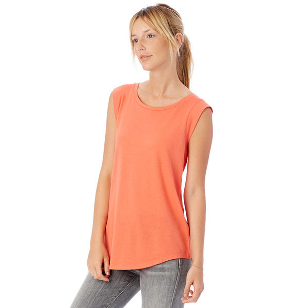 Cap Sleeve Fire Coral Satin Jersey Crew