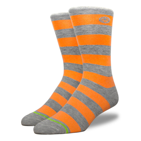 Gray & Orange Striped Socks