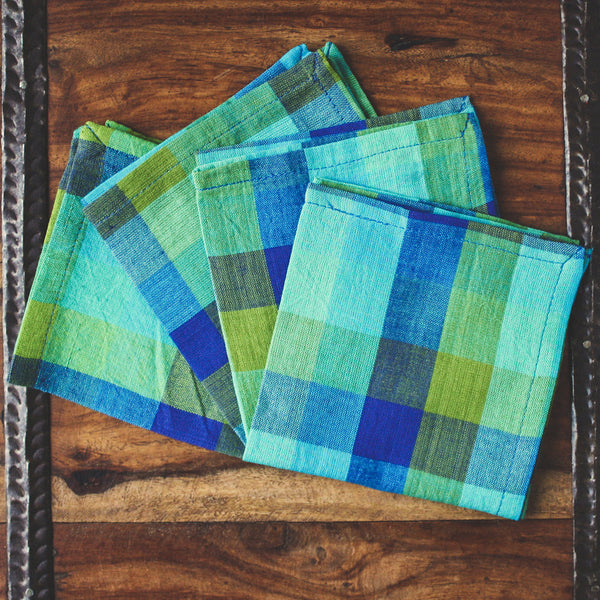 Checkered Blue Plaid Cotton Cocktail Napkins - Set of Four