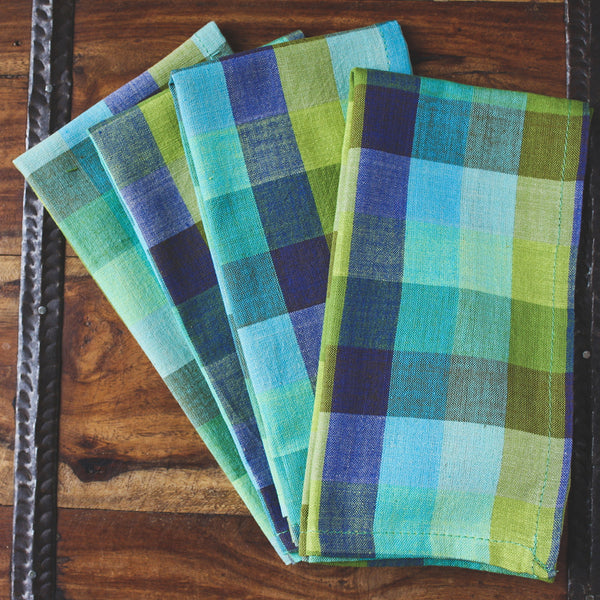 Checkered Plaid Cotton Dinner Napkins - Set of Four