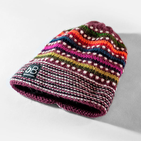 Cherry Rainbow Fleece-Lined Beanie