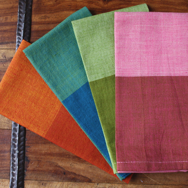 Colorblock Chic Cotton Dinner Napkins - Set of Four