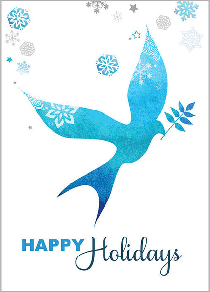 Contemporary Blue Dove Holiday Cards Pack of 10