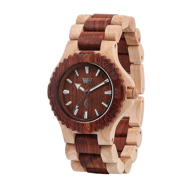 Date Beige and Brown Wooden Watch