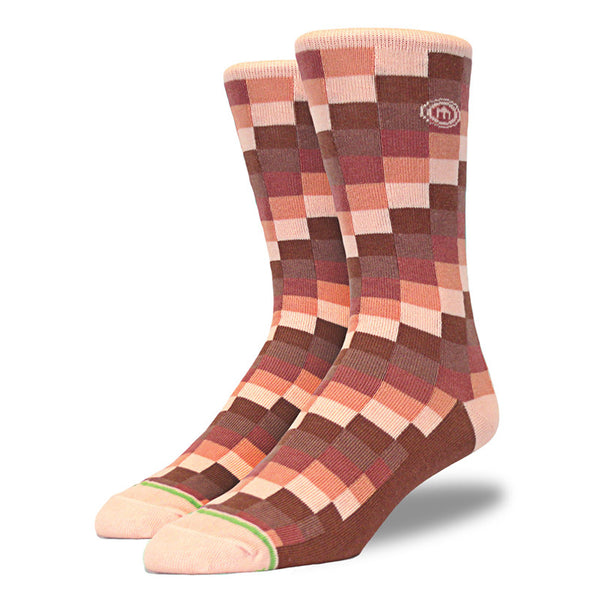 Peach Digital Blocks Patterned Socks