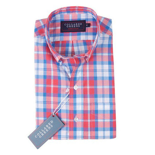 Dover Button Down Shirt - Red & Blue