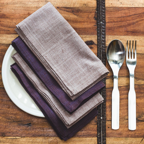 Purple Dusk Cotton Dinner Napkins - Set of Four