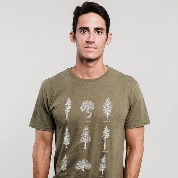 Evergreen Trees Olive Crew-Neck Tee