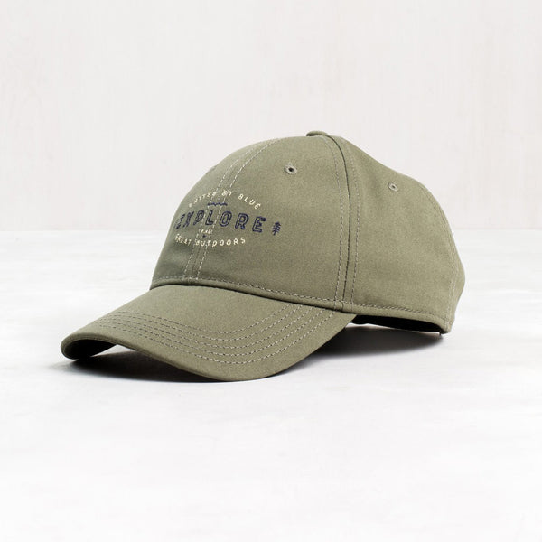 Embroidered Explore Hat in Olive