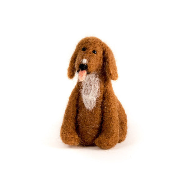 Sitting Brown Dog Handmade Ornament