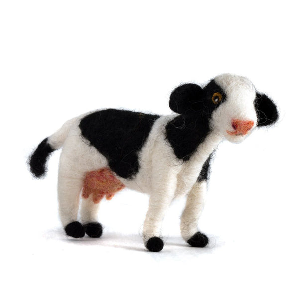 Felted Cow Handmade Ornament
