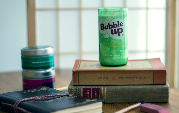 Bubble Up Soda Bottle Candle and Glass