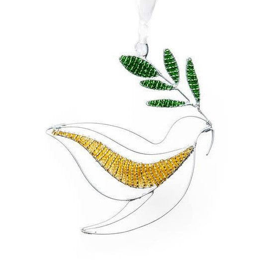 Beaded Dove with Branch Ornament