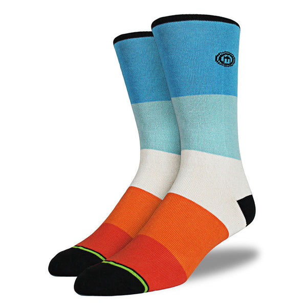 Blue & Orange Color Block Socks