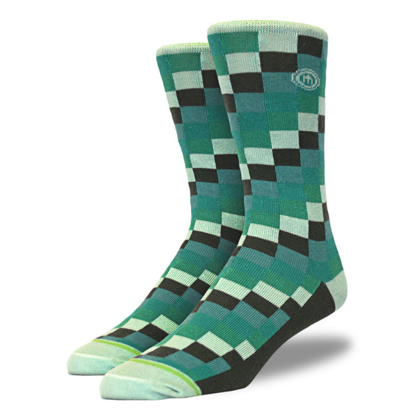 Green Digital Blocks Patterned Socks