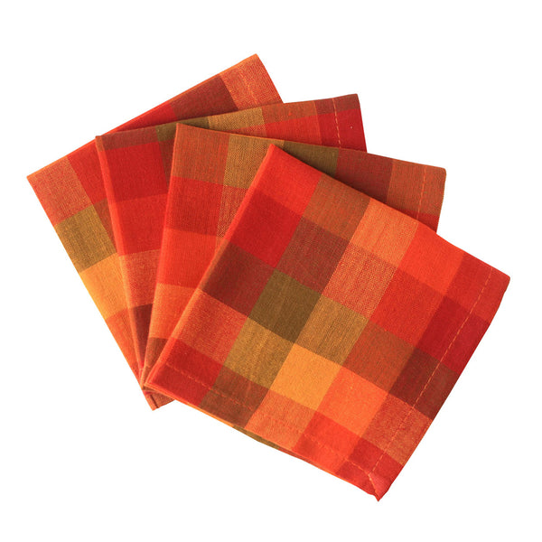 Checkered Cherry Plaid Cotton Cocktail Napkins - Set of Four
