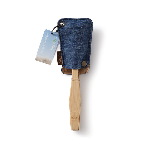 Bamboo Utensil Travel Set with Hemp Denim Pouch