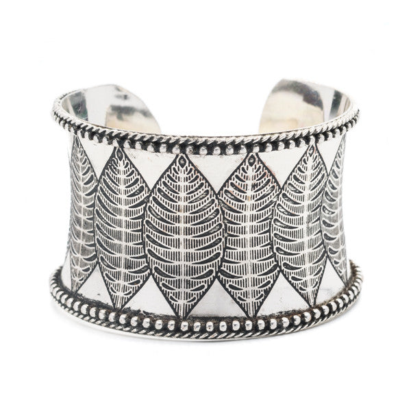 Silver Leaves Cuff