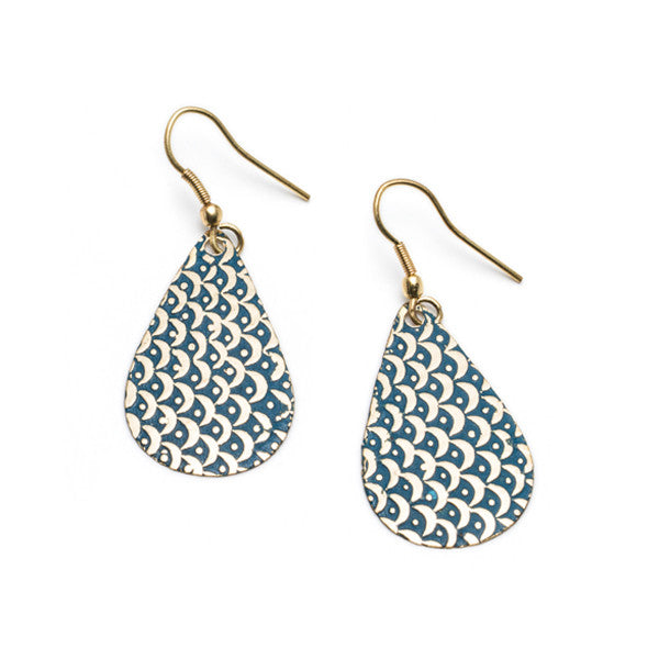 Art Deco Blue Scallop Earrings
