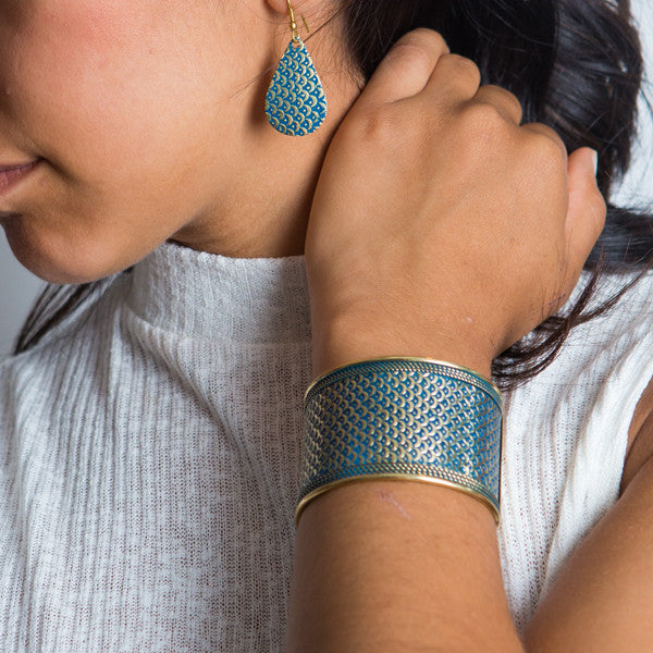Art Deco Blue Scallop Cuff