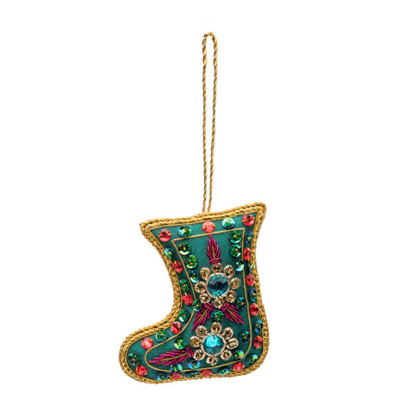 Stuffed Green Stocking Ornament