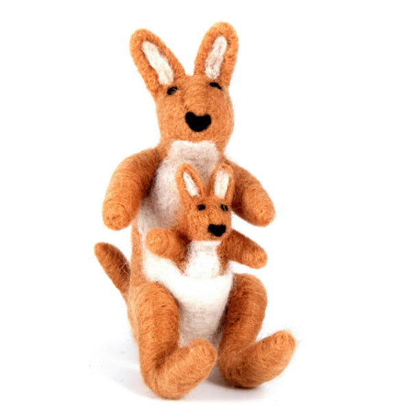 Wool Kangaroo & Joey Handmade Ornament