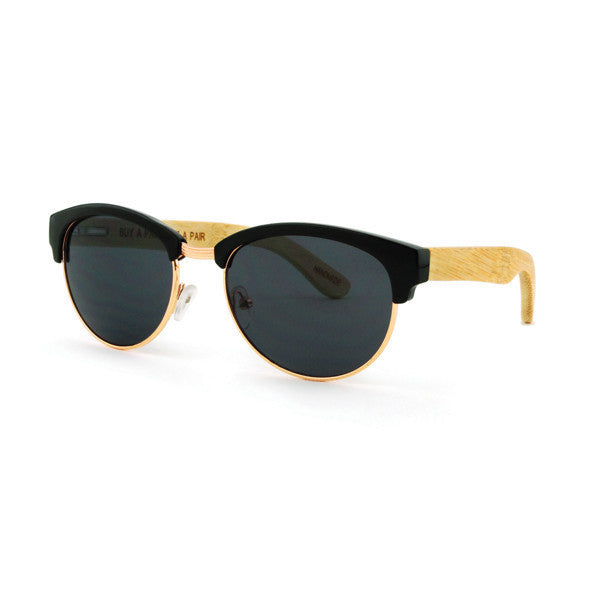 Gloss Black & Bamboo Sunglasses with Smoke Lenses