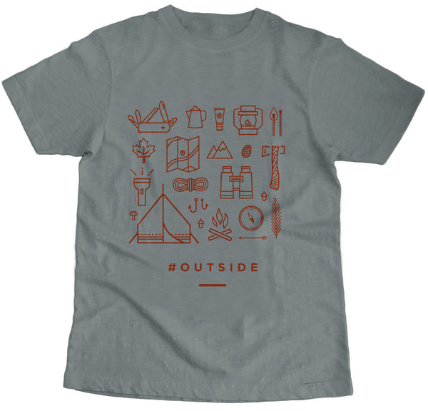 Outside Crew Neck Gray Tee