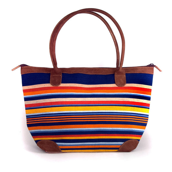 Mariana Woven Cotton and Leather Handbag