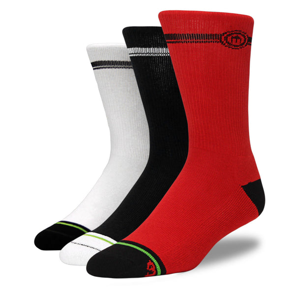 Mens Red, White, and Black 3-Pack Crew Socks