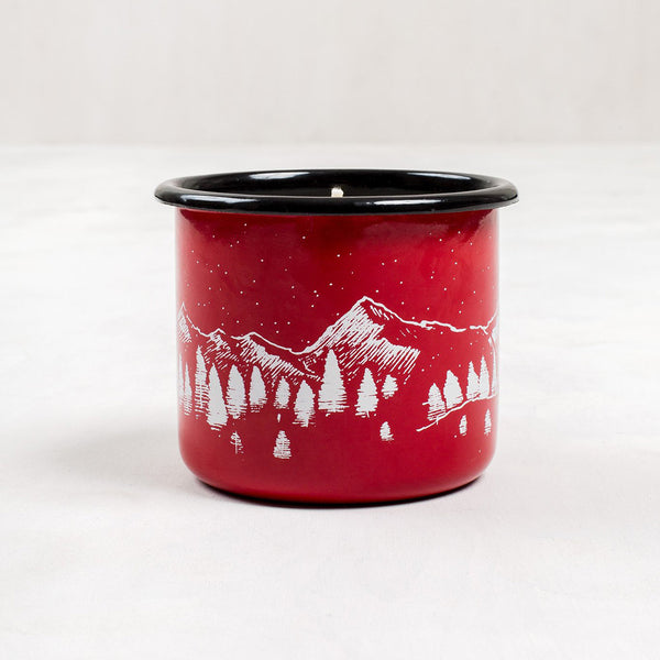Mountain Cabin Enamel Steel Mug & Candle