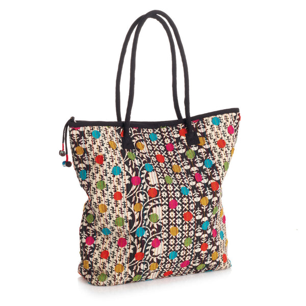 Patterned and Polka Dot Tote