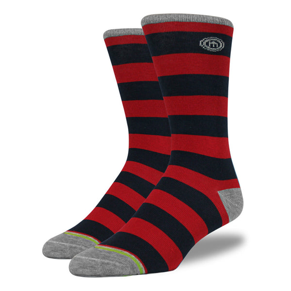 Navy & Red Striped Socks