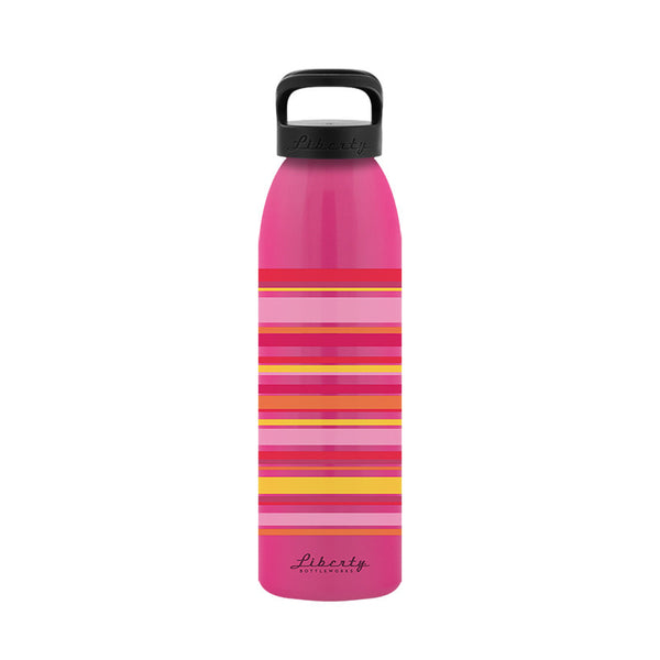 Flamingo Stripes Recycled Aluminum Reusable Water Bottle