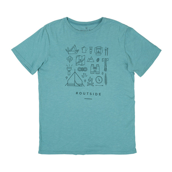 Outside Crew Neck Green Tee