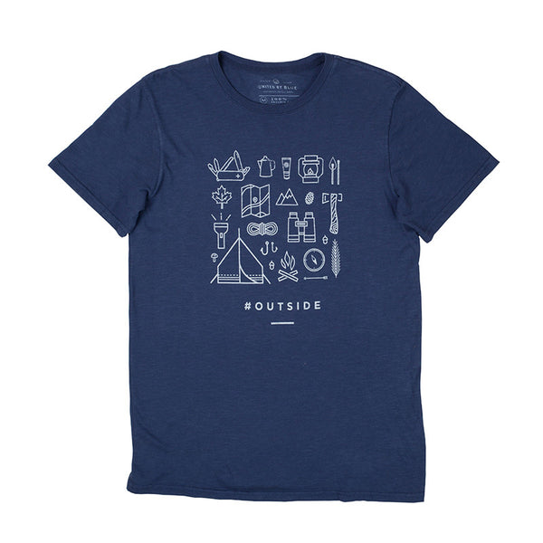 Outside Crew Neck Navy Tee