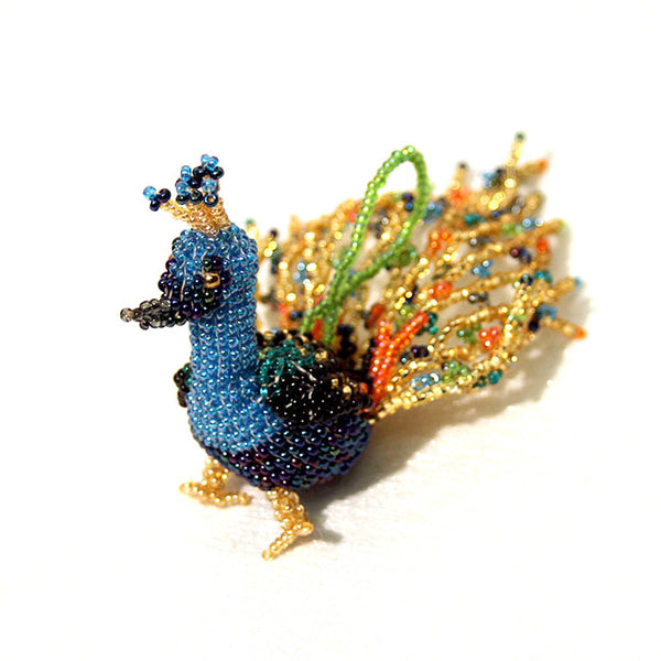 Hand-Beaded Peacock Ornament
