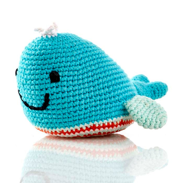 Whale Soft Handwoven Baby Rattle
