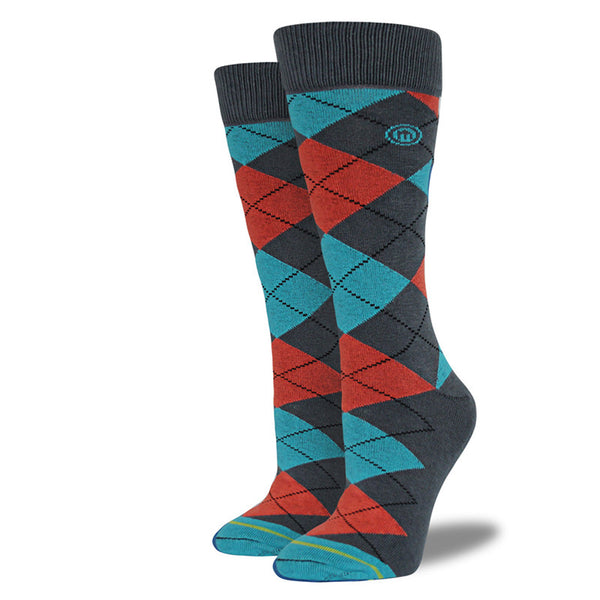 Blue & Red-Orange Argyle Socks