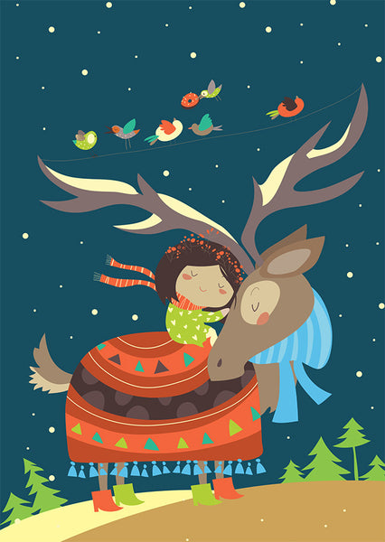Girl & Reindeer Holiday Cards Pack of 10