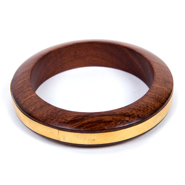 Ring of Gold Wood Bangle
