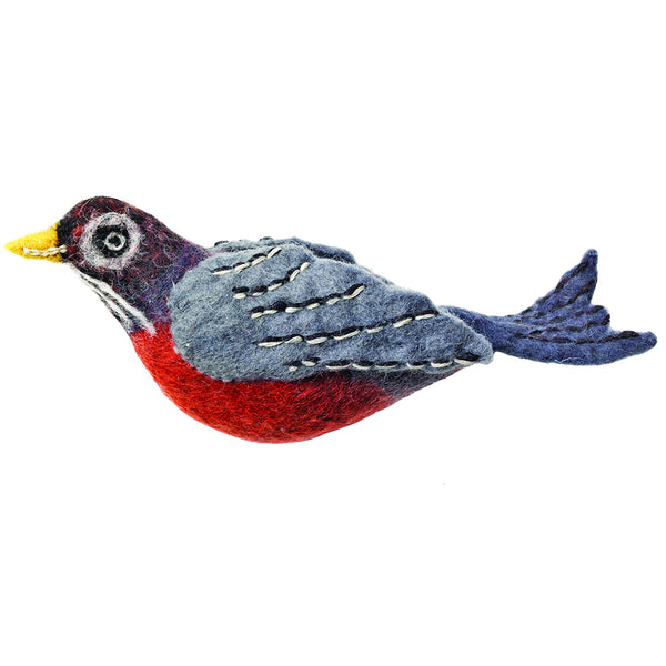 Wild Woolie Bird Ornament - Robin
