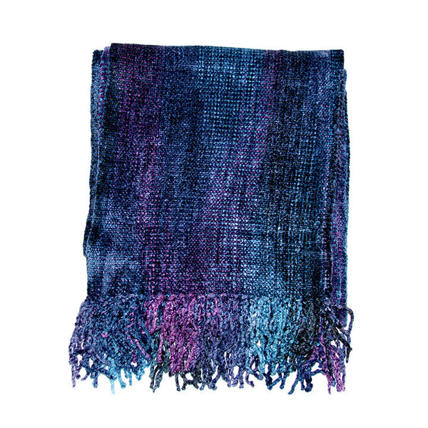 Blue & Purple Bamboo Chenille Scarf