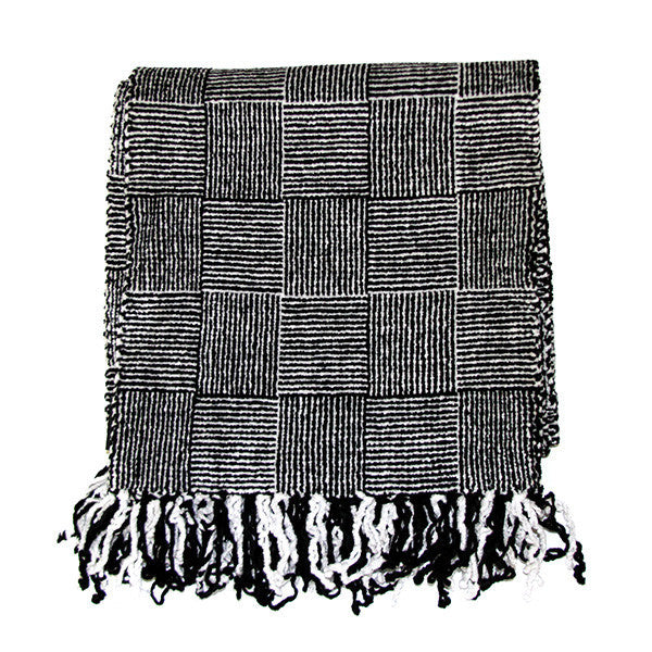 Black and White Log Cabin Weave Scarf