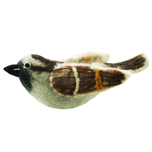 Wild Woolie Bird Ornament - Sparrow