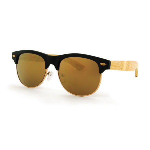 Street Matte Black & Gold Bamboo Sunglasses