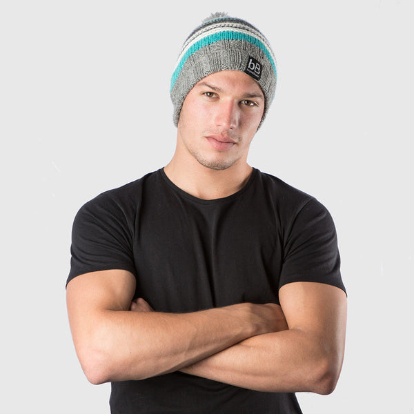Teal Snow Striped Beanie with Pom