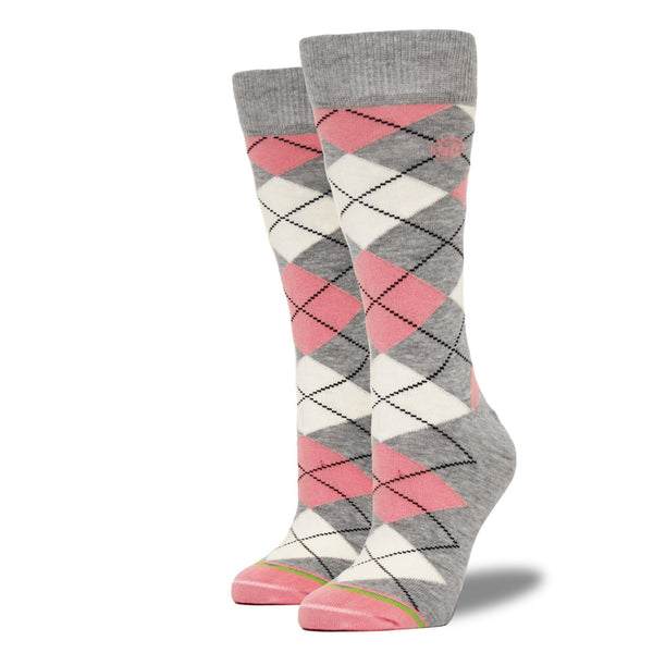 Pink & Gray Argyle Socks