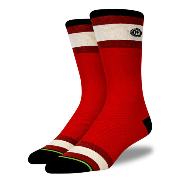 Red Solid & Stripes Socks
